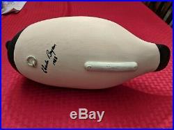 Canvasback Duck Decoy Signed Charles Bryan 1988 Solid Heavy Wood Hand Painted