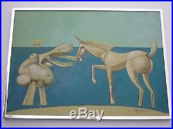 Capanni Carlo Painting Vintage Abstract Cubist Nude Horse Modernism Italian