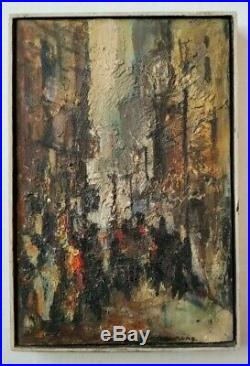 Carlyle Browning Vintage American Cityscape Street Figures Chunky Oil Painting