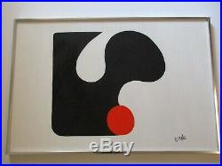 Carole Signed Painting Vintage Retro Abstract 1970's Modernism Pop Art 36 Inches