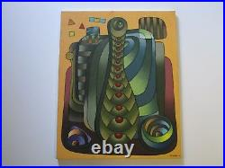Cendros Mystery Artist Painting Abstract Cubist Cubism Modernism Vintage Signed