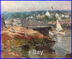Charles Movalli Art Painting Sailboat Coastal Scene Signed Vintage 03327