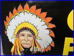 Chief Paints Vintage & Original Double-sided Advertising Sign Native American