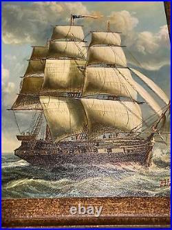 Clipper Ship Oil on Canvas Sailing Painting Signed Elliott Very Heavy