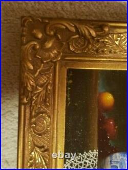 David Berger Oil Painting Still Life Framed Listed Artist Signed 9.5x7.5 VTG