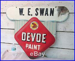 Devoe Paint Vintage Sign Double Sided Metal Enamel 30x36 WE Swan Indian