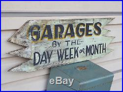 EARLY 1900s RARE OLD PAINT ORIGINAL GARAGES RENT WOOD TRADE SIGN VINTAGE ANTIQUE