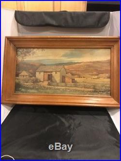 ERIC SLOANE Vintage Litho Stone Barn Hay Horses Prairie Frame Signed