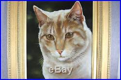 Estate Vintage Signed Oil On Board Framed Painting Ginger Cat Carolyn Droge