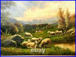 Early American Oil Painting Signed Thomas B. Craig Landscape Sheep Grazing