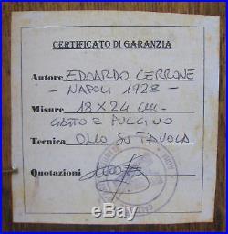 Edoardo Cerrone Signed Pair of Italian Vintage Cat Oil On Board Paintings