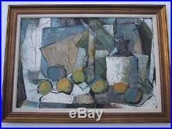 Edward D Turner Painting Expressionism Still Life Abstract Cubist Vtg Modernism