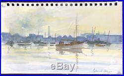 Edward Seago Original Watercolour Rare Signed Vintage Harbour Landscape