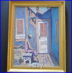 Epperson Signed Painting Urban Modernist Home Woman With Hat And Coors Vintage