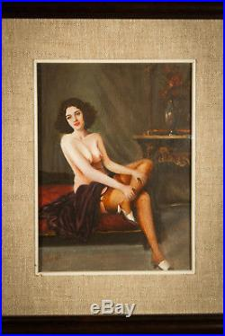 Erotic painting VINTAGE nude sexy woman ITALIAN Signed Art oil on canvas FRAMED