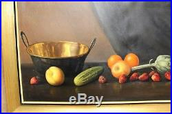 Estate Found Vintage Oil Painting on Canvas Fruits on Table Signed F. Antonio