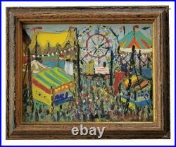 Evelyn Lampman Vintage Woodstock New York Circus Carnival WPA Era Oil Painting
