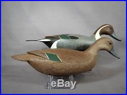 Excellent PAIR Signed George Strunk Swimming Pintail Decoys Original Paint