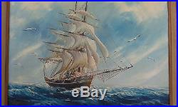 FLIPPER SHIP Yacht Sail Boat Old Vintage Oil Painting Canvas Signed Framed