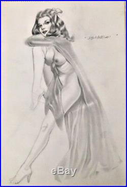 FOREVER Nude ORIGINAL DEMARTINI PIN-UP DRAWING Pinup VINTAGE ROMANCE Vargas 60's