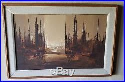 Framed Vintage Impressionism Oil Painting Signed Listed Artist Lewis Scott Croft