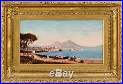 FRANK HENRY SHAPLEIGH Mid-19th Century ANTIQUE VINTAGE ART OIL PAINTING NAPLES