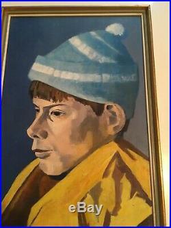 FUN VINTAGE MID CENTURY OIL PAINTING BOY PORTRAIT Signed 1970 Beautiful Colour