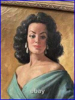 Fab 50s 60s MID Century Modern Oil Painting Senorita Maria Felix Signed & Framed