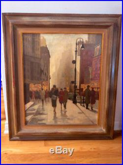 Fab! Vintage City Scene People Buildings OIL Painting on CanvasFramed & Signed