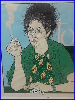 Fantastic Vintage Signed PORTRAIT OF A WOMAN SMOKING Painted Lithograph 33x32