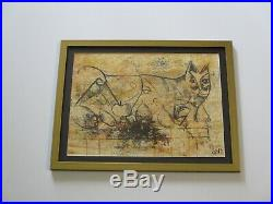 Favs Signed MID Century Modern Drawing Abstract Cubist Cubism Cat Animal Vntg