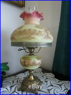 Fenton Burmese Student Lamp Mountains & Trees Hand Painted Signed Vintage 3 Way