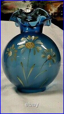 Fenton Lamp Shade Blue Hand Painted Flowers & Leaves Vintage HARD TO FIND