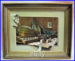 Fine Vintage French TROMPE L'OEIL Oil Painting, signed CHARPENTIER c. 1950