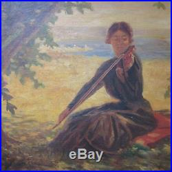Fine Vintage To Antique Coastal Impressionist Painting Musician Signed Monogram