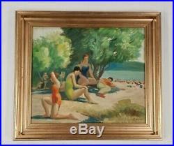 Finest MARIO MAURO Vintage 1950s Beach Scene Figures Bathers Oil Painting WPA