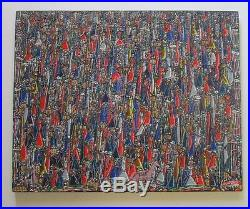 Finest Rene Haspil Haitian Painting Abstract Expressionism Vintage Signed 30'