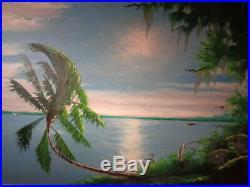 Florida Highwaymen Johnny Hook Daniels Signed Oil on Board Painting River Scene