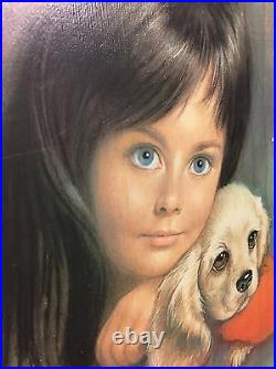 Framed Vintage, retro, 1960's portrait of a girl and a dog print. Signed