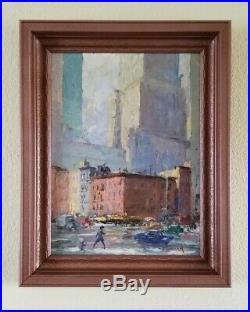 Frank Gervasi Vintage New York Street Scene Cityscape WPA Era Ashcan Painting