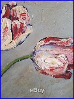 French oil original painting still life flowers 1958 signed vintage antique 1