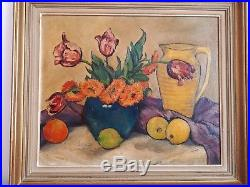 French oil original painting still life flowers 1958 signed vintage antique 2