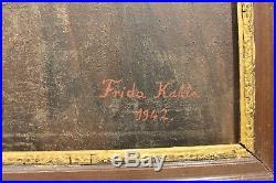 Frida Kahlo Signed Original Vintage Oil Painting on Canvas