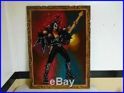 GENE SIMMONS / KISS Vintage 1970's Velvet Painting. Framed. Signed. 28x39 RARE