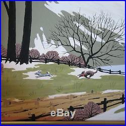Gardner American Folk Art 1940's Painting Original Winter Regionalism Vintage