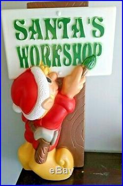 General Foam Elf Painting Santa's Workshop Sign Vintage Blow Mold Christmas