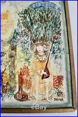 Gertrude Barrer Vtg Mid Century Modern Art Oil Painting Listed New York Artist
