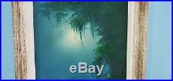 Gorgeous Signed vintage Florida Highwaymen Painting Lemuel Newton Moonlit Palm