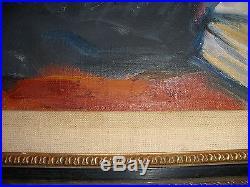 Great Vintage Impressionism Rabbi Study Torah Judaica Oil Painting Signed Cohen