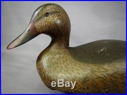 Great Vintage Ken Harris Signed Oversized Black Duck Hen Decoy Original Paint